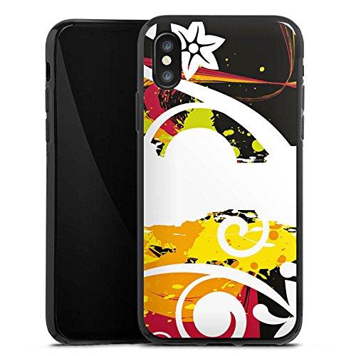 Apple iPhone X Silikon Hülle Case Schutzhülle Schnörkel Bunt Blumen Silikon Case schwarz