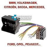 ISO-FAKRAConnecteur ISO universel pour installer radios avec connecteur ISO universel: BMW, VW, Opel, Peugeot, Citroën, Mercedes...