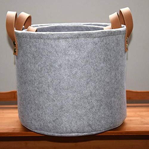 Gu3Je Felt Basket Storage Box with Handle Soft Durable Foldable Storage Bin Basket Laundry Hamper Toy Storage Organizer Bins Home Decorations Gray Large (Toy Storage Bin)