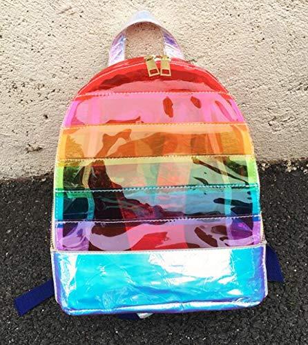 Pnizun - Mode Damen-Rucksack Farbe Striped Laser-Kunststoff Durchsichtig Sicherheit Transparent Rucksack Tasche Damen Reisetasche Damentasche [Orange ]