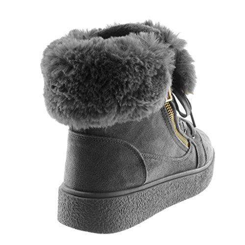 Angkorly Damen Schuhe Stiefeletten - Plateauschuhe - Combat Boots - Schneestiefel - Pelz - Reißverschluss - Golden Flache Ferse 3.5 cm Grau