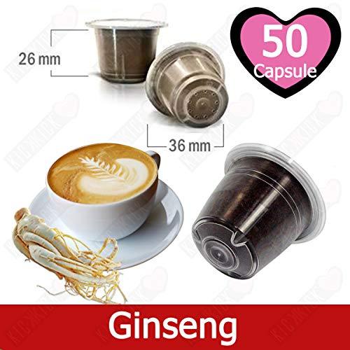 50 Kapseln Nespresso Kaffee Kompatibel Ginseng Kaffee - Hergestellt in Italien - Kickkick Kaffee (Italien Kaffee)