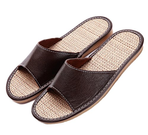 Nanxson(TM) Herren Männer Sommer einfarbig Leder Sandalen Hausschuhe Slipper mit Leinen Sohle TX0022 Dunkelbraun