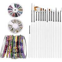 Kit de Arte para Uñas, Kit de Herramientas DIY Nail Art Decorations con Cinta de Rayas de 30 Colores y Pedrería de 12 Colores y Cepillo de Pintura 15pcs