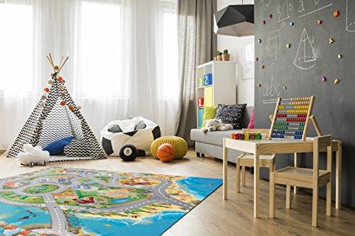 House of Kids–94074–Spiel-Teppich, Umkehrbar–Motiv: Straßen am Meer - 4