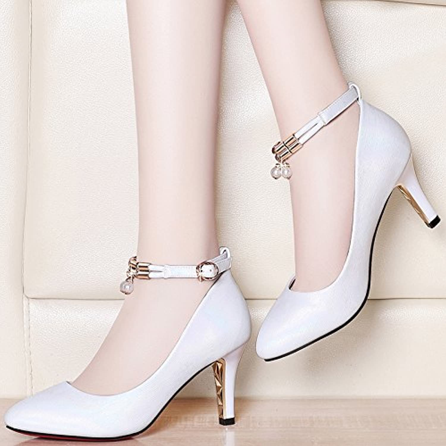 f26c5db3863 Jqdyl High High High heels Spring And Summer Women S Shoes Buckle High Heels  Ol Fine With Pointed Professional Shoes Women... B07DNBRTZF Parent 5cb6b7