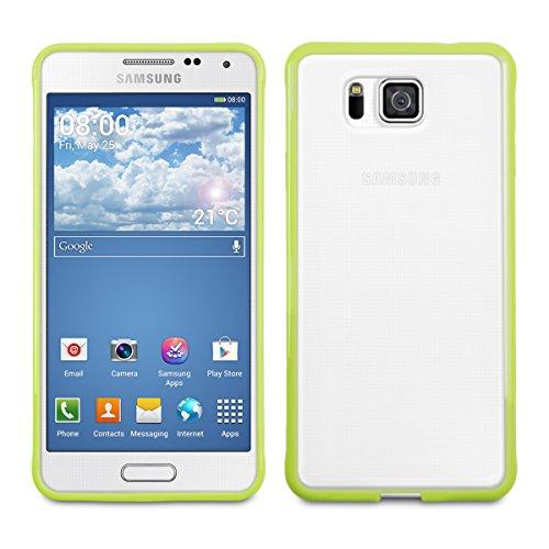 kwmobile Funda para Samsung Galaxy Alpha - Carcasa de [plástico] para móvil - Protector [Trasero] en [Verde Transparente]