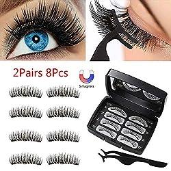 3D magnetische Wimpern, Natural Look Künstliche Wimpern mit 3 Magneten, Wimpernverlängerung Magneten False Eyelashes mit Pinzette, 8 Stücke