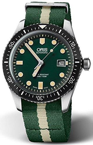 Oris plongeurs Sixty-five Homme lumineux plongée montre automatique–Vert visage Vert OTAN Bande de tissu fabriqué en Suisse montre de plongée automatique pour homme 0173377204057–0752124FC