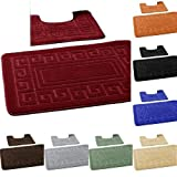 2 Piece Bath Mat New Greek Style Set Non-Slip 13 Colours