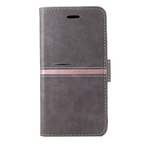YAN Für iPhone 6 Plus / 6s Plus, Crazy Pferd Textur PU Leder Horizontale Flip Leder Tasche mit Halter & Card Slots & Wallet & Photo Frame & Lanyard ( Color : Rose gold ) Grey
