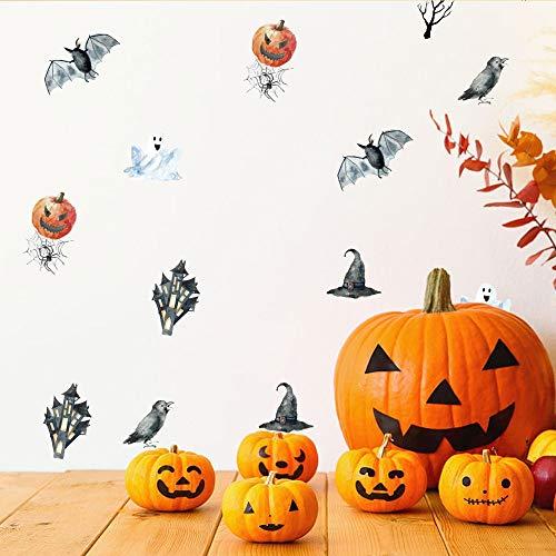 ko Für Room Art 6 Teile/Los 21 * 15 Cm Dekoration Halloween Bat Kürbis Geist Wandaufkleber Zitat Kunst Diy Aufkleber Wandbild ()