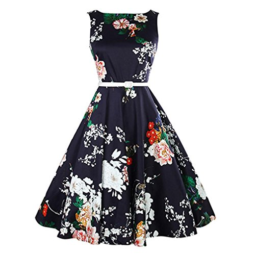 Mitlfuny Rock-n Roll Rock Kostüm rot schwarz gepunkteter Rock knielang mit passendem Schal Halstuch Tellerrock 50er Jahre Stil Mode Kostüm Rockabilly Damen Outfit Vintage Floral Bodycon Ärmel Abend Party Prom Swing Kleid (X-Large, Marine) (Schal S 70)