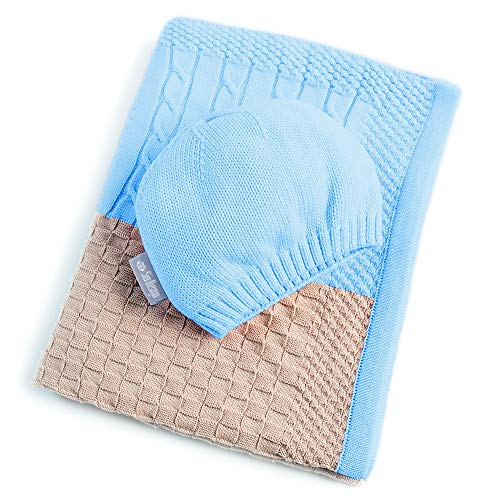 sei Design Baby Kuscheldecke + Mütze | Babydecke 90 x 70 cm aus 100% Baumwolle |...