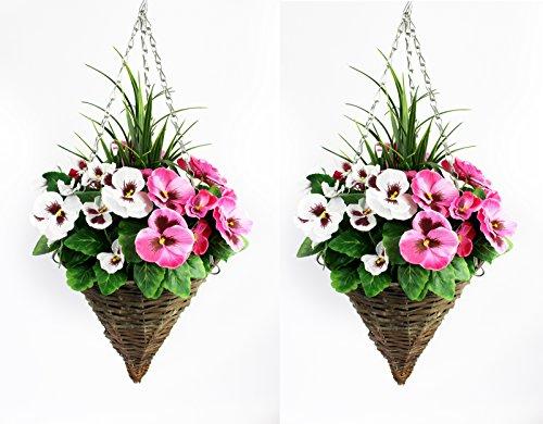 Cestini conici da appendere, con fiori artificiali viola e bianchi ed erbetta decorativa, confezione da 2
