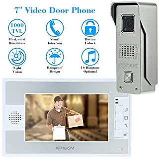 KKMOON 7 Inch Door Viewer Video Doorbell and Home Security Camera Monitor Intercom System Doorbell Entry Kit with Rain Cover Intercom System