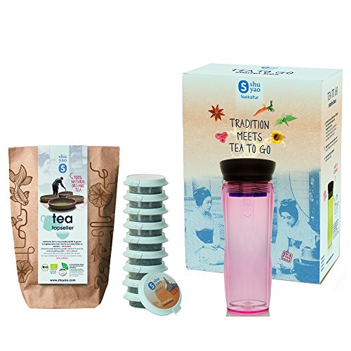 Shuyao teamaker (pink) tea to go Starter Box includes double-walled teamaker infuser, a thermosbottle with tea strainer and 10x1 Top Seller tee set with green tea, black tea, chai, fruit tea, cacao tea and many more