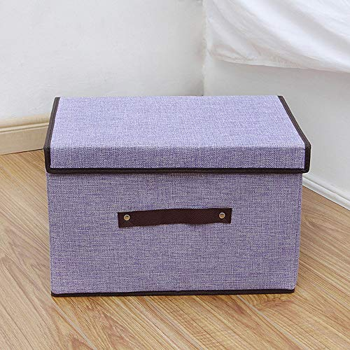 Yao Large Capacity Cotton Linen Storage Box Foldable Closet Clothes Organizer Box Purple