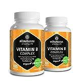 2 Dosen Vitamin B Komplex hochdosiert vegan 6 Monatsvorrat Vitamin B1, B2, B3, B5, B6, B7, B9, B12 Qualitätsprodukt-Made-in-Germany ohne Magnesiumstearat, 30 Tage kostenlose Rücknahme!