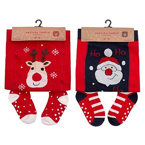 37bc66182ec8e Festive Collants de Noël amusants pour bébé Motif Père Noël ou renne - - 0-