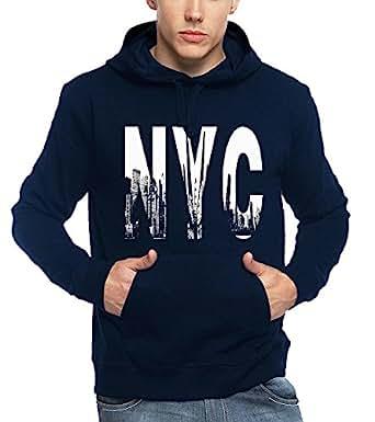ADRO Men's NYC Printed Cotton Hoodies (Navy Blue, Medium)