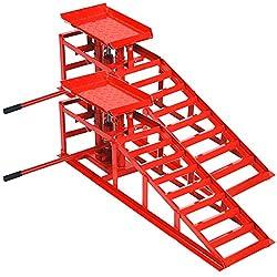 Helo 2X KFZ Auffahrrampe mit Wagenheber hydraulisch 2 T Hebelast (rot), höhenverstellbar (max. 245 mm Reifenbreite), PKW Rampe mit integrierter Wagenheber Hebebühne