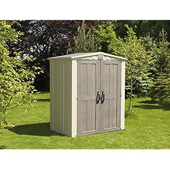 Keter Factor Outdoor Plastic Garden Storage Shed, Beige, 6 x 3 ft