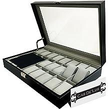 Reloj de Lujo Caja Almohada de Terciopelo 24 Ranuras, Premium Vitrina con diseño Tapa de