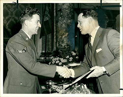 Fotomax Vintage Photo of British Wartime Pilot Douglas Bader Presents Olley Trophy to an American Airman (Engineering Ace)