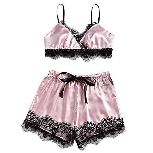 Missoul Womens Plus Size Eyelash Lace Lingerie Babydoll V-Neck Details Pajamas Set Women''s Sexy Cup Sleepwear Soft Nightwear Mesh Edge Style Babydoll Women Night Dress Sets Comfortable (Pink)