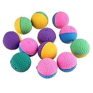 Demiawaking Lot de 12balles souple Chat, coloré, EN Latex à balles pour animal domestique à mâcher Jouets Boule résistant aux morsures d'entraînement Jouets Balles pour friandises pour chiens de petite taille, chats, Chatons