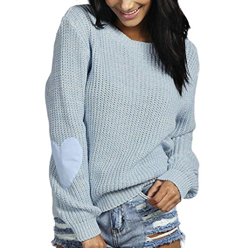 Kanpola Damen Pullover Strickwaren Hearted Ärmel Outwear Elegant Loose (M, Hellblau) (Koch Pullover Tunika)