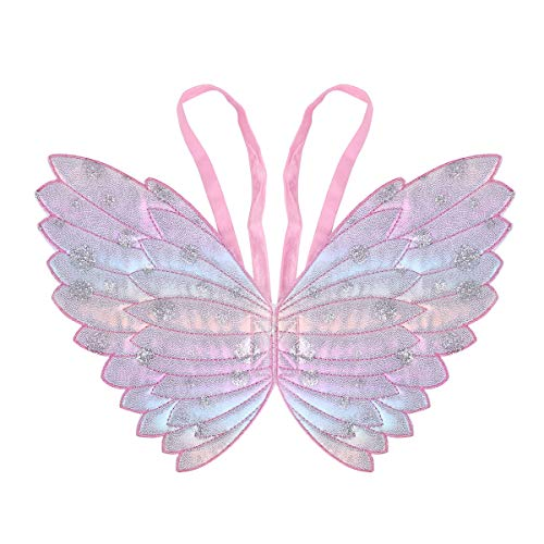 Freebily Kinder Mädchen Fee Prinzessin Kostüm Funkelnde Schmetterling Flügel/Fee Zauberstab für Cosplay Party Performance Kostüm Dress Up Zubehör Rosa A One Size