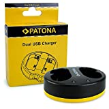 PATONA Dual Micro-USB Ladegerät für Godox VB20 V350s C/N/O/F Speedlite Flash, kompaktes Akku-Ladegerät, 4.2V / 730mA x1 / 730mA x2