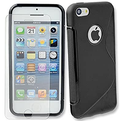 Connect Zone® iPhone 5/5G/5S/SE Black S Line Silicone Gel Case Cover With Screen Guard + Polishing Cloth And Tempered Glass