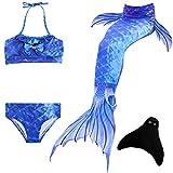 DOTOFIN Meerjungfrau Schwanzflosse für Kinder Mädchen Zum Schwimmen mit Meerjungfrau Flosse und Bikini