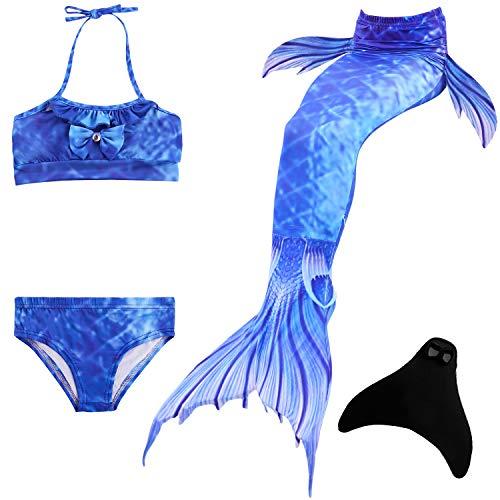 DOTOFIN Meerjungfrau Schwanzflosse für Kinder Mädchen Zum Schwimmen mit Meerjungfrau Flosse und Bikini (5-6 Jahre, Ozeanblau)