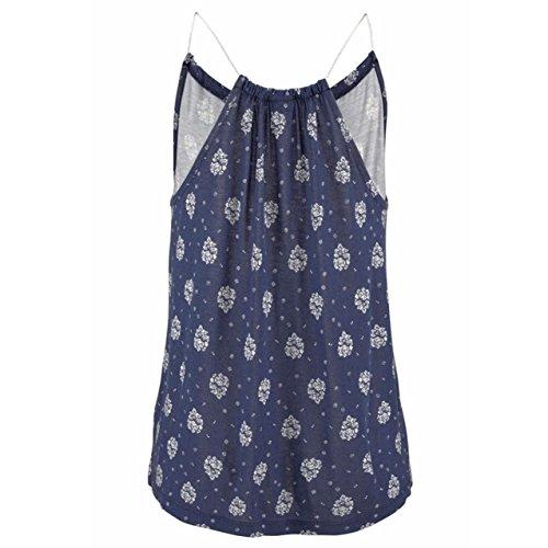 LHWY Damen Summer Print Sleeveless Vest Shirt Tank Tops Bluse t-shirt Blue