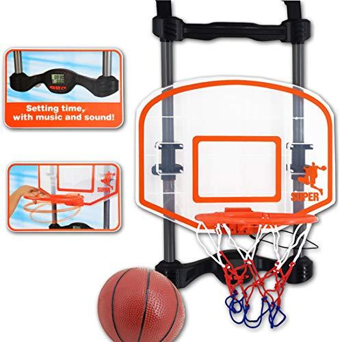 deAO Juego de Baloncesto Infantil - Tablero Para Colgar en la Puerta Incluye Temporizador y Efectos de Sonido