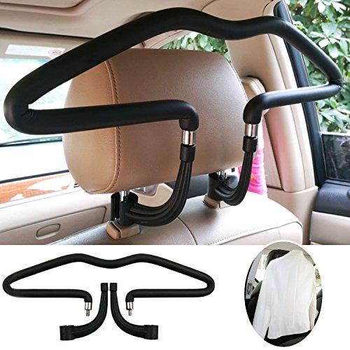 Preisvergleich Produktbild Autokleiderbügel,  Mopalwin kleiderbügel für Auto Kopfstütze Ausführung Chrom für Jacke Shirts Kleiderbügel -Schwarz