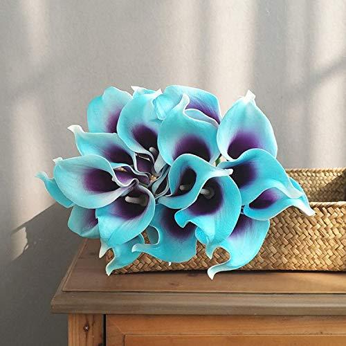 Jun7L Künstliche Blumen Calla-Lilie Brautstrauß Hochzeit Blumenstrauß Home Party Floral Decor PU Real Touch Fake Blumen 10 Stück Blau Lila 35X6X7CM