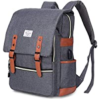 Vintage Laptop Backpack Womens Mens, Modoker School Bags College Backpack Rucksack with USB Charging Port, Lightweight Business Travel Backpack Work Daypack Fits 15 Inch Computer/Notebook (Grey)