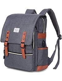 Vintage Laptop Backpack Womens Mens, Modoker School Bags College Backpack Rucksack with USB Charging Port, Lightweight Business Travel Backpack Work Daypack Fits 15 Inch Computer/Notebook (Grey)
