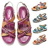Camfosy Sandales Cuir Femmes Plates, Chaussures de Marche Été à Talons Plats Semelle Confortable Sandales de Randonnée Réglable à Scratch pour Pieds Larges Marron Bleu