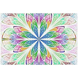 Tapiz de 152,4x101,6 cm. Patrón Fractal vitrales floral. Tapicería psicodélica para Dormitorio Indio o para Sala de estar.