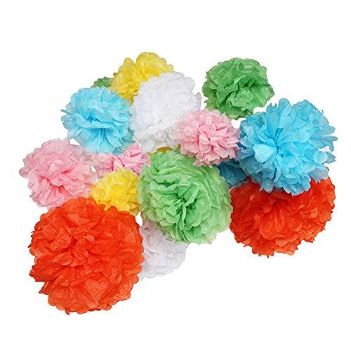 Seidenpapier Pompons, 18 Stk.Papierblumen Pompons mit 7 Farben für Baby Dusche/Geburtstag / Hochzeit/ Party/Zimmer Dekoration,hängende DIY Pompoms (Blau, Hellrosa, Orange, Weiß, Grün, Gelb und Lila)