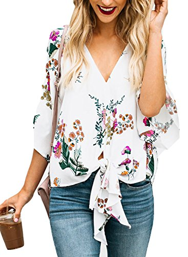 Happy Sailed Womens Summer Floral V Neck Tie Front Short Sleeve Chiffon Blouses