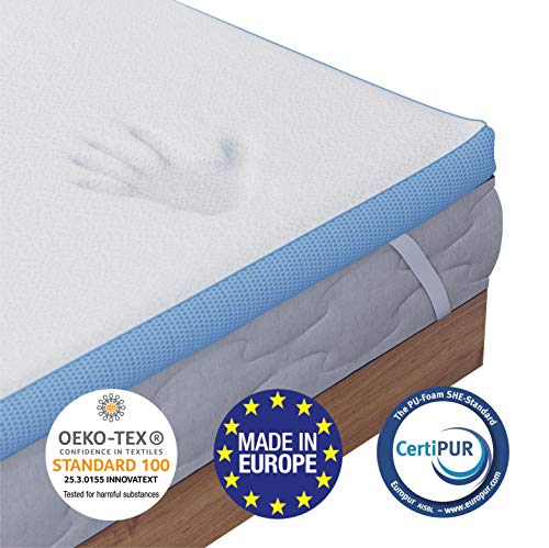 Cuscino In Memory Foam Certificato Oeko Tex.Orthopaedic Memory Foam Mattress Topper 160 X 200 Cm Euro King 5cm 2 Inch Chemical Free And Made In Europe Memory Foam Mattresses Toppers