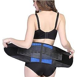 Ajustable transpirable neopreno doble tirador lumbar apoyo inferior de la espalda Brace Cinturón Ejercicio Shaper, Blue&Black, 2XL
