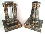 designgrab Modern Grablampe mit Vase und 2 Stück Sockel aus Granit Gneis Halmstad / Barap / Hollandia, Grabschmuckset